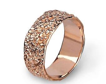 SALE 20% Off - ANTICO 14k Rose Gold Wedding Band Ring, Textured Wedding Band, Unique Wedding band Women, Mens Wedding Band Rose Gold, His an