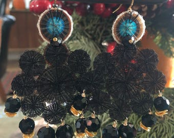 Black chandelier earrings   black and gold earrings   black holiday earrings   long black earrings   statement earrings