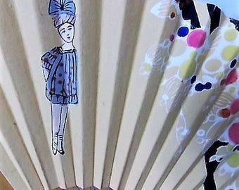 Vintage Hand Painted Paper Wood Fan Deco Design Little Girl Circles
