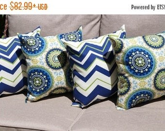 Richloom Bindis Summer and Tempest Navy, Lime green Outdoor Throw Pillow - 4 Pack Free Shipping