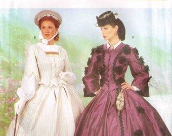 On Sale Civil War Day Dress Making History Cosplay Butterick 6694 Pattern Full Figure Plus Size 18 20 22 Bust 40 42 44 Uncut Factory Folded