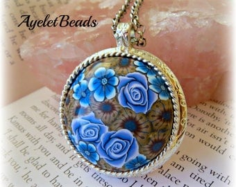 Blue Rose pendant Necklace , colorful , handmade, one of a kind
