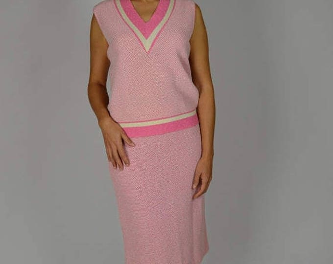 sale Vintage Top and Skirt, 60s Dress, Pink Knit, Easter Dress, Wiggle Dress,1960s Dress, Sleeveless Dress, Knit Dress, Knit Dress,