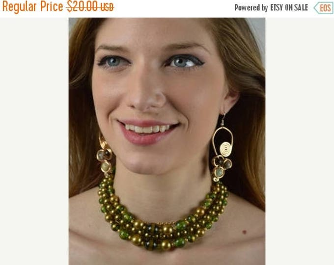 sale Vintage Necklace, 50s Necklace, Multi Strand Necklace, Green Gold,  Beaded Necklace, Statement Piece, Green Gold,