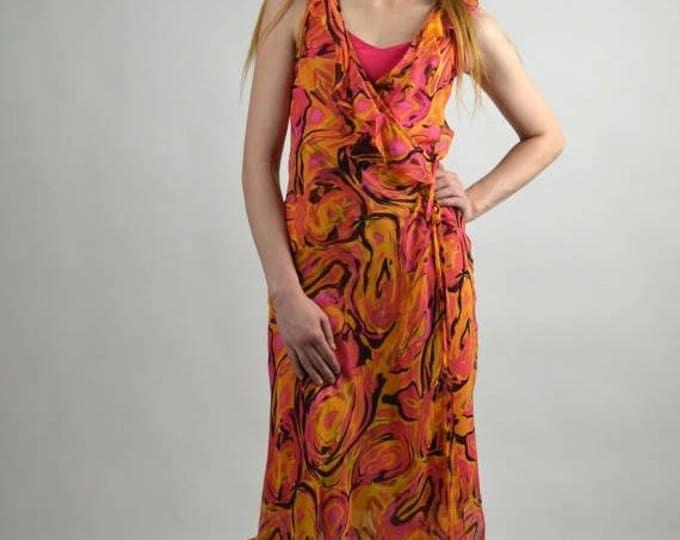 sale Vintage Dress, Betsy Johnson, Wrap Dress, Hot Pink, Silk Dress, Club Dress, Below the Knee, Party Dress, Tea Length Dress, Midi Length,