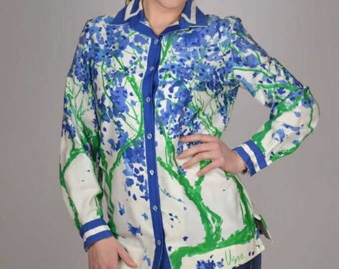 sale Vintage 70's Shirts, Vera Shirts, Button Down Shirt, Floral Print, Tunic Shirt, Spring Shirt, Blue Green, Vera Blouse, Vintage Blouse