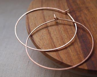 Bohemian Extra Large 60mm Hoop Earrings, XL Rose Gold Big Hoop Earrings, Lightweight Classic Hoop Earrings