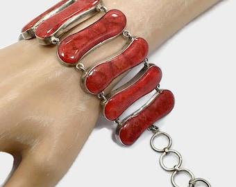 Red Coral Bracelet, Sterling Bracelet, Wide, Vintage Jewelry, Links, Linked Bracelet, Coral Bracelet, Vintage Bracelet, Big Large, Statement