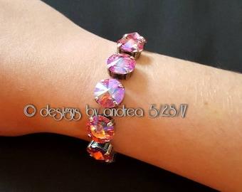 Crystal Bracelet - Rose Glacier Blue Swarovski Crystals - 12 mm stone size