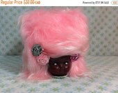SPRING SALE Handmade Faux Fur Dolly Tissue Box Woman White Pink Vintage Materials Cotton Candy