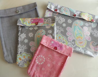Ouch Pouch 4 Piece Set Clear Pocket Travel Diaper Bag Inserts Cosmetics Toiletries Medical Kit Get Well Hospital - Pink & Gray Paisley