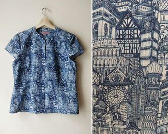 Blue Ink Shirt, Cotton Blue Architectural Print Shirt, Button Down Shirt, Elbow Sleeves Blouse Custom Made Shirt