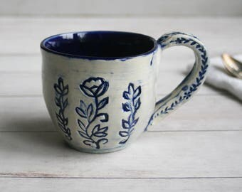 11 oz. Coffee Mug in Natural White and Navy Blue Glaze with Floral Motif Design Pottery Mug Made in USA Ready to Ship