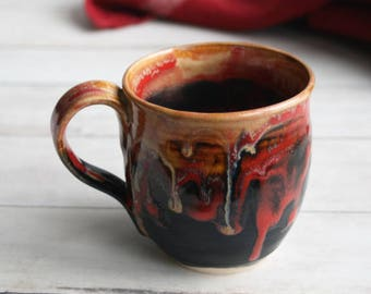 Handmade Pottery Mug in Dripping Gold, Red and Black Glazes 14 oz. Handmade Stoneware Coffee Cup Made in USA Ready to Ship