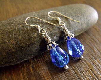 "Drop Earrings Adorned with Vintage Dark Sapphire Swarovski Crystals and Sterling Silver Accents, Blue Earrings ""Baby Blues"""
