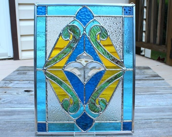 Stained Glass Panel with Glass Bevels in Blues, Yellow and Streaky Green