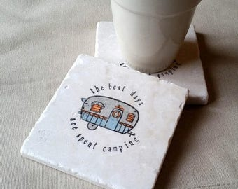 XMASINJULYSale Camper Coasters - Personalized Tile Coasters - Camping - Wedding Gift - Mothers and Fathers Day Gifts - The Best Day are Spen