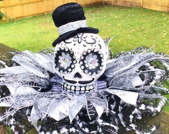 SALE - Black White Silver Skull Dia de los Muertos Sugar Skull - Day of the Dead Halloween Centerpiece