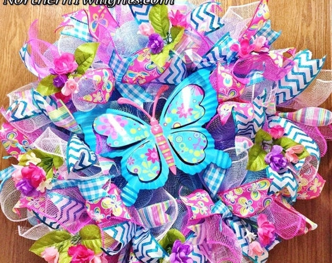 SALE- Blue Butterfly and Flowers - Welcome Door Wreath