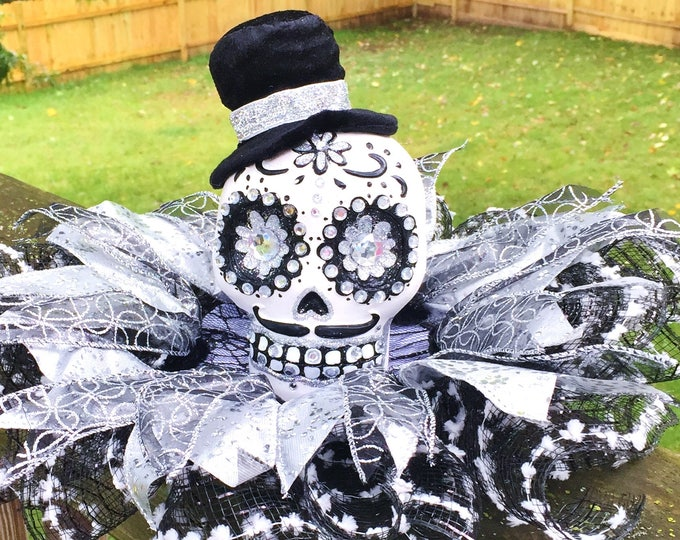 SALE- Black White Silver Skull Dia de los Muertos Sugar Skull - Day of the Dead Halloween Centerpiece