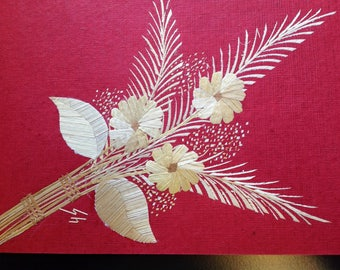 Flower bouquet Handmade with rice straw Have U seen ancient rice straw art? Not many people have seen it! SEE it TODAY. signed by artist