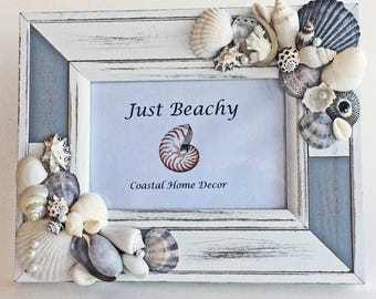 BEACH DECOR PHOTO frame, seashells, vintage coral, pearls, wood frame, soft gray and white, shabby chic, wedding, nautical, coastal, 4x6 pic