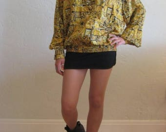 40% SUMMER SALE Black & Gold Luxe Print Tunic