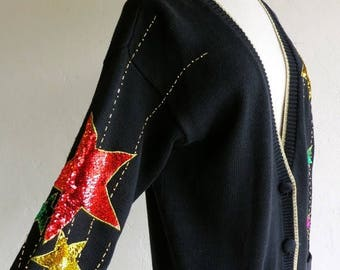 40% SUMMER SALE Sequin Star Avante Garde Sweater