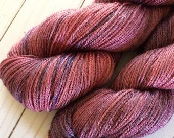 "3 Ply Fingering Weight Yarn, sock Yarn, Shawl Yarn  ""Burgundy Ranunculus"" Superwash Merino/Bamboo/Nylon, Yarn Base is Sheentastic Fingering"