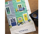 Lisbon Tea Towel / Portugal Tea Towel / Wanderlust Gift / Dish Cloth / Gift For Travelers / Travel Gift / Retro Travel / Lisbon Gift