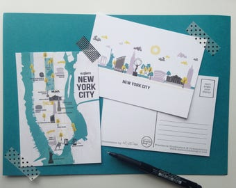 New York Postcards / Manhattan Postcard Set / New York Map Illustration / New York Skyline Illustration / Manhattan Skyline / Manhattan Map