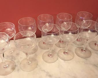 11 Vintage Sherry Cordial Apertif Glasses