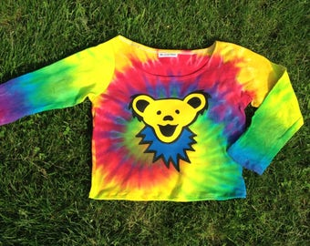 Grateful Dead Shirt Tie Dye Longsleeve Dancing Bear Crop Top Tshirt Tee Shirt