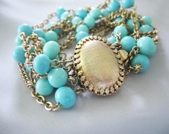 Glass & Chain Bracelet, Aqua Blue, Turquoise, Box Clasp, Oval, Goldtone, Cha Cha Bracelet,Czech Glass, Vintage 1950's
