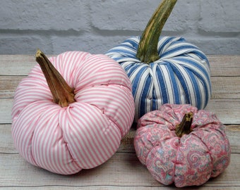 Fabric Pumpkin Set of 3 with real stems Pink and Blue