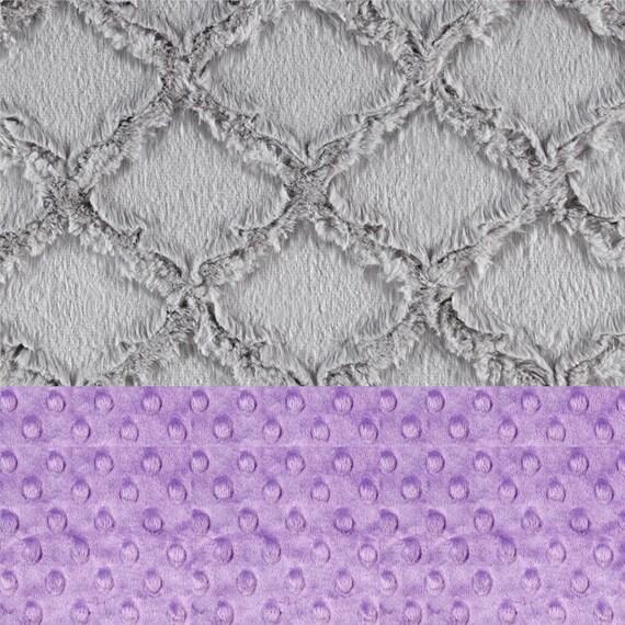 Minky Adult Blanket Personalized Blanket, Gray Purple Lilac Throw, Twin Bedding Geometric Blanket, Minky Throw Blanket, Gray Minky Throw
