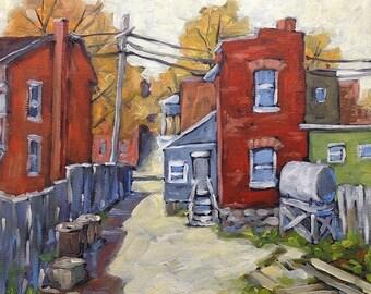 On Sale Sunny Back Lane - Urban Scene Montreal -  Mini Original Oil Painting - Created by Prankearts