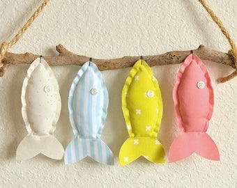 Custom Four Colorful Hanging Fish - Nursery Wall Decor - Child's Room Fish Art