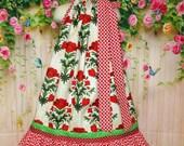 SALE SALE Girls Dress 6/7 Red Poppy Flower Pillowcase Dress Pillow Case Dress Sundress