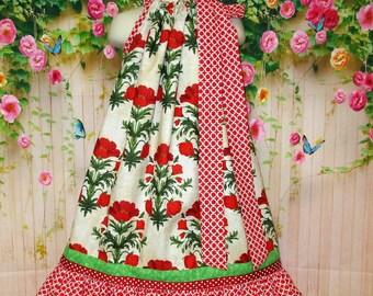 Girls Dress 6/7 Red Poppy Flower Pillowcase Dress Pillow Case Dress Sundress