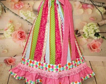 Girls Dress 4T/5 Pink Green Dots and Stripes Pillowcase Dress, Pillow Case Dress, Sundress, Boutique Dress