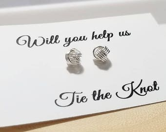 Thank You for  Helping Us Tie the Knot - Simple Sterling Silver Textured Love Knot Stud Earrings