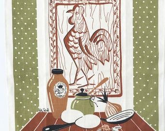 Kitchen Towel Rooster Cutting Board Polka Dots Designer Signed Fritz Foord
