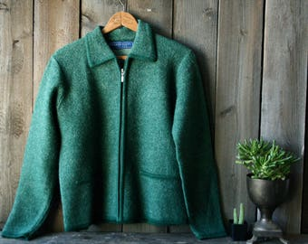 Wool Green Sweater Jacket Cardigan Zip Australia Made Vintage From Nowvintage on Etsy