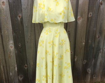 1970's yellow floral print maxi dress EXTRA SMALL