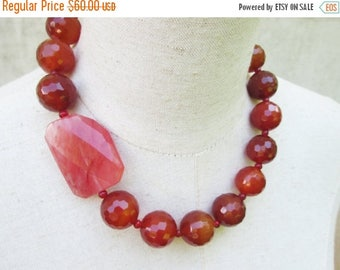 XMAS in JULY SALE Chunky Carnelian and Rose Beaded Necklace, Dark Orange Cranberry Stone Beads