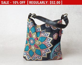 upcycled handbag, small handbag, upcycled bag, canvas handbag, small canvas bag, mandala bag, evening bag, womens handbags