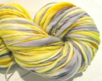 Bulky Handspun Yarn Honey Bee 130 yards yellow yarn gold gray hand dyed merino yarn waldorf doll hair knitting supplies crochet supplies
