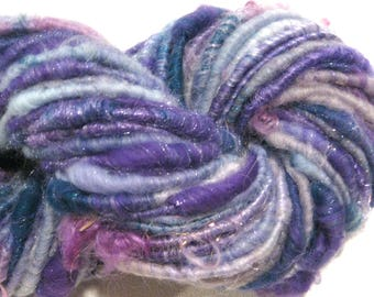 Bulky Handspun yarn Winter 74 yards blue purple gray lavender sparkly yarn corespun yarn knitting supplies crochet supplies  doll hair