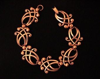 Vintage RENOIR Copper Scroll Bracelet